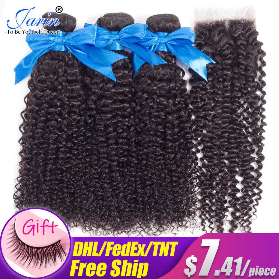 JARIN perwersyjne kręcone ludzkie włosy wiązki z zamknięciem włosy brazylijskie Remy 3 zestawy z zamknięcie koronki 4*4 bezpłatne środkowe trzy części