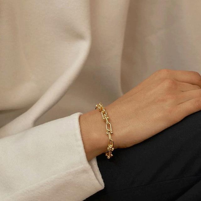 925 Sterling Silver Lock Chain Bracelet for Women Men Vintage Handmade Hasp Adjustable Bracelet Party Jewelry Gift S-B451 2