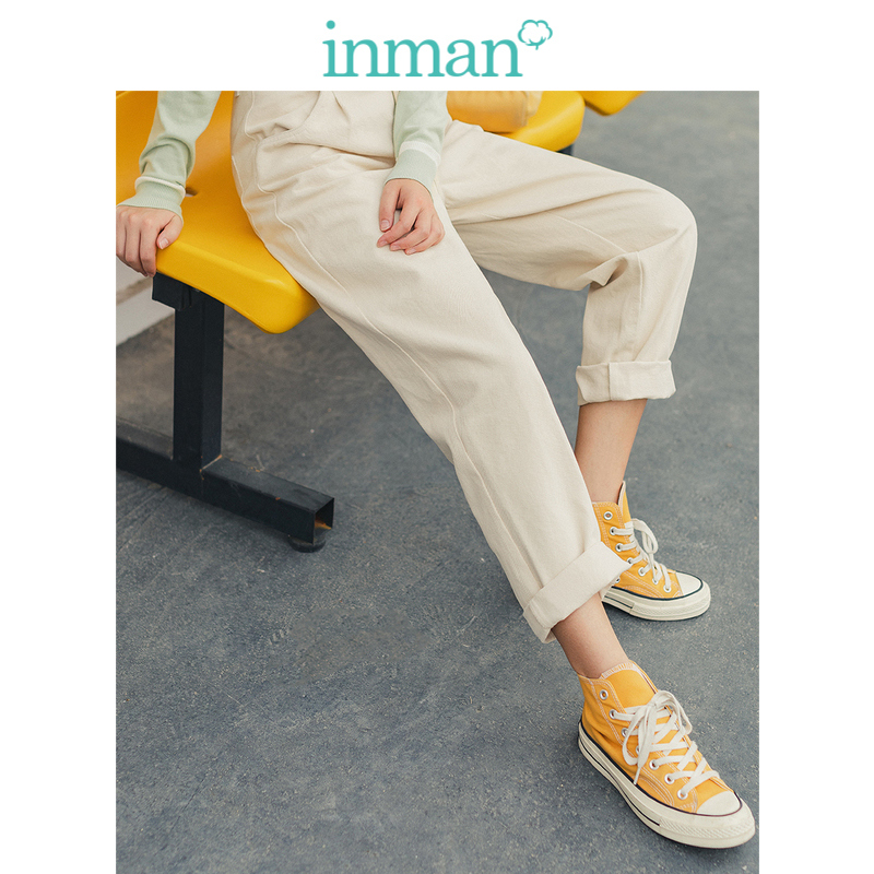 INMAN 2020 Spring New Arrival Literary Cotton High Waist Straight Shape Fitting Style Women Causal Pant