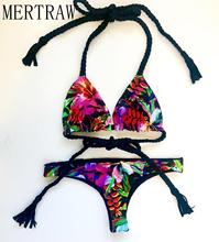 Small floral print bikini sexy halter strap Europe and America bikini@19 new swimsuit women недорого