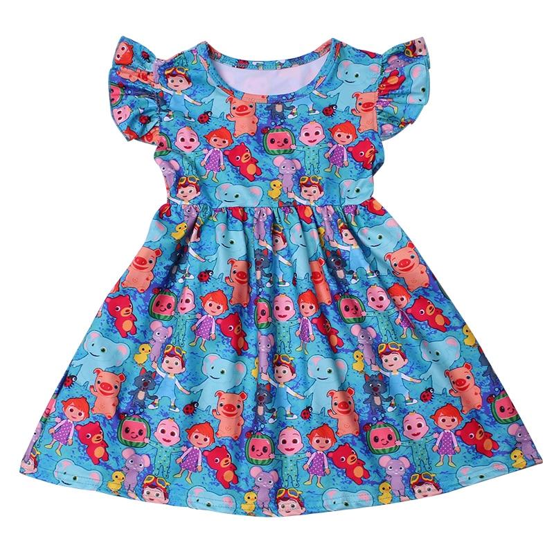 Princess Dress For Girls Flutter Sleeve Dress Cartoon Cocomelon Baby Girl Clothes Milk Silk Casual Toddler Girl Summer Dress 5