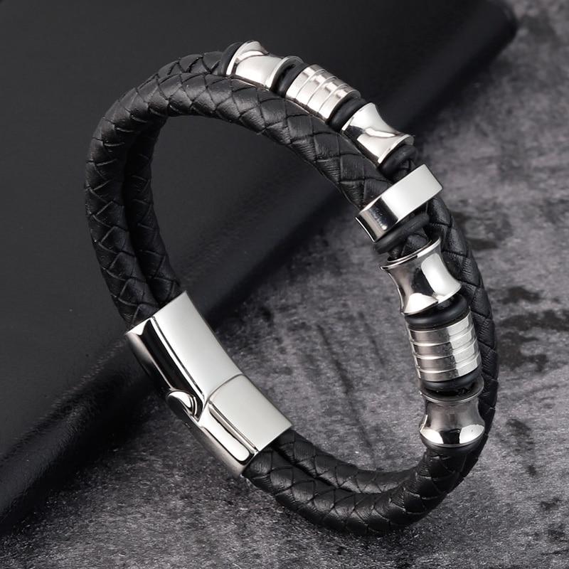 Accessories Bracelet Men's Fashion Gift Black Genuine Leather Bracelets DIY Combination Wild Handsome Gift
