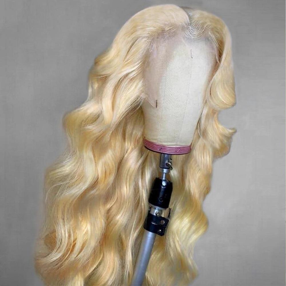 Парики Abijal 613 блонд на сетке спереди, парики из человеческих волос 13x4, бразильские волнистые волосы без повреждений, на сетке спереди, предва...
