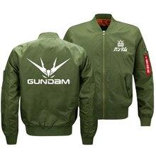 2018 New Oversize Mens Military Bomber Jacket Anime Gundam Logo Printed Coat Army Tactical Zipper Flying Jacket Clothes US SIZE