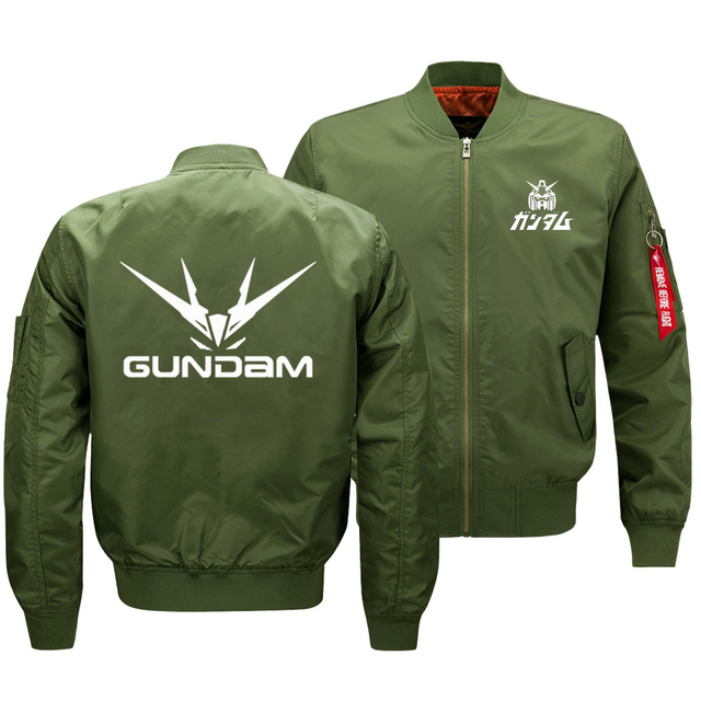 """2018 החדש Oversize גברים של ז קט הצבאי אנימה Gundam לוגו מודפס מעיל צבא טקטי רוכסן עף מעיל בגדי ארה""""ב גודל"""