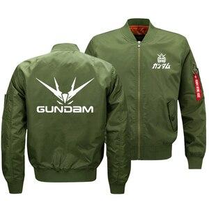 Image 1 - Куртка бомбер мужская оверсайз с принтом логотипа Gundam, армейская тактическая Летающая куртка на молнии, размер США, 2018