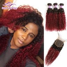 Soft Feel Hair T1B/бордовые пучки волос от светлого до темного цвета с закрытием 99J бразильские кудрявые пучки вьющихся волос с закрытием красные Remy...