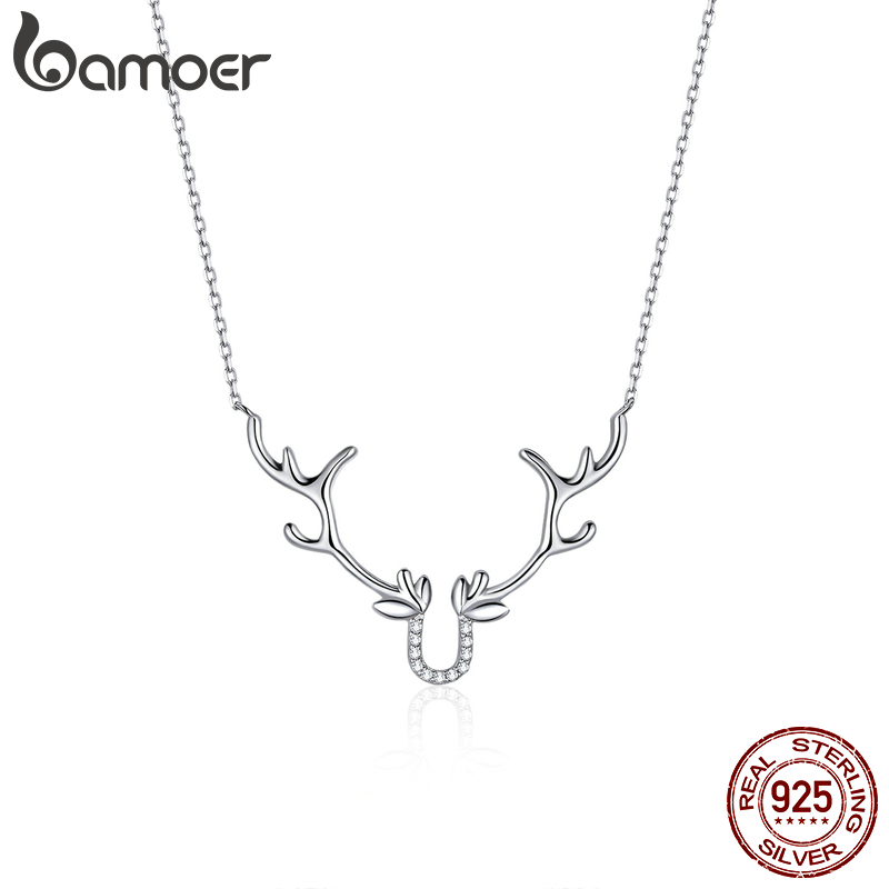Bamoer Genuine 925 Sterling Silver Elk Short Chain Necklace For Women Cute Animal Gift Jewelry Accessories 2020 New BSN158