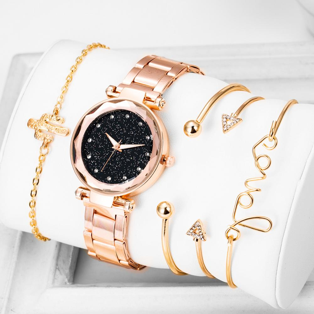 New Women Watch With 4 -Piece Bracelet Fashion Quartz Watch Ladies Rhinestone Dial Stainless Steel Band Saats Gift Montre Femme