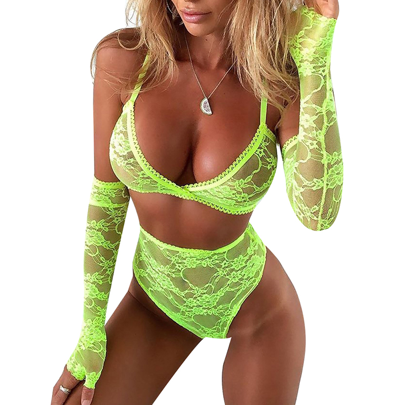 Fluorescent Green Mesh Lace Bra And Panty Set Women V-Neck Sexy Transparent Skinny Lace Intimates Lingerie Set  Brief Set  D35