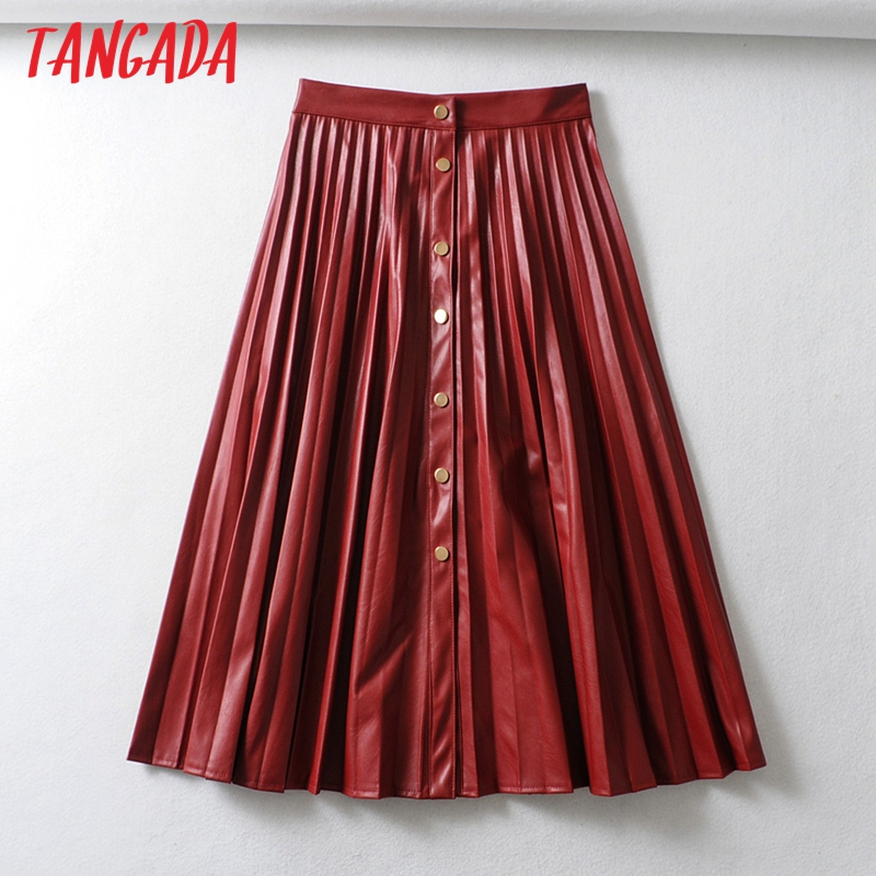 Tangada Women Faux Leather Red Midi Skirt Vintage Female 2019 Office Ladies Elegant Chic Buttons Pleated Midi Skirts 6A312