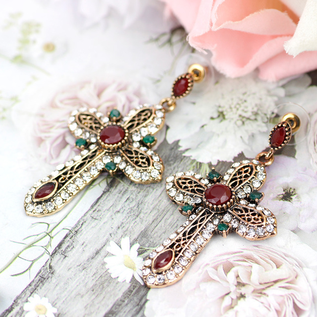 Elegent Vintage Turkish Women Cross Long Dangle Earrings Antique Gold Color Resin Rhinestone Multicolor Ethnic Religion.jpg 640x640 - Elegent Vintage Turkish Women Cross Long Dangle Earrings Antique Gold Color Resin Rhinestone Multicolor Ethnic Religion Jewelry