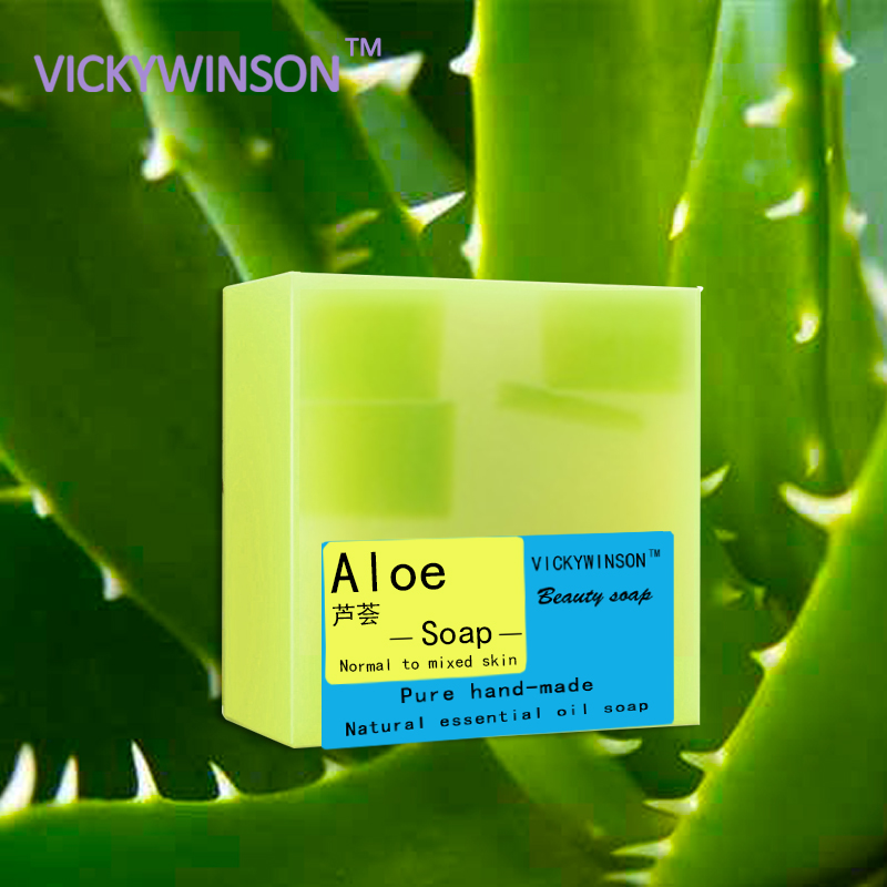 VICKYWINSON Aloe Handmade Soap 100g Moisturizing Aloe Soap Aloe Vera Soap Cleaner Face Care Wash Basis Soap Skin Care Tool