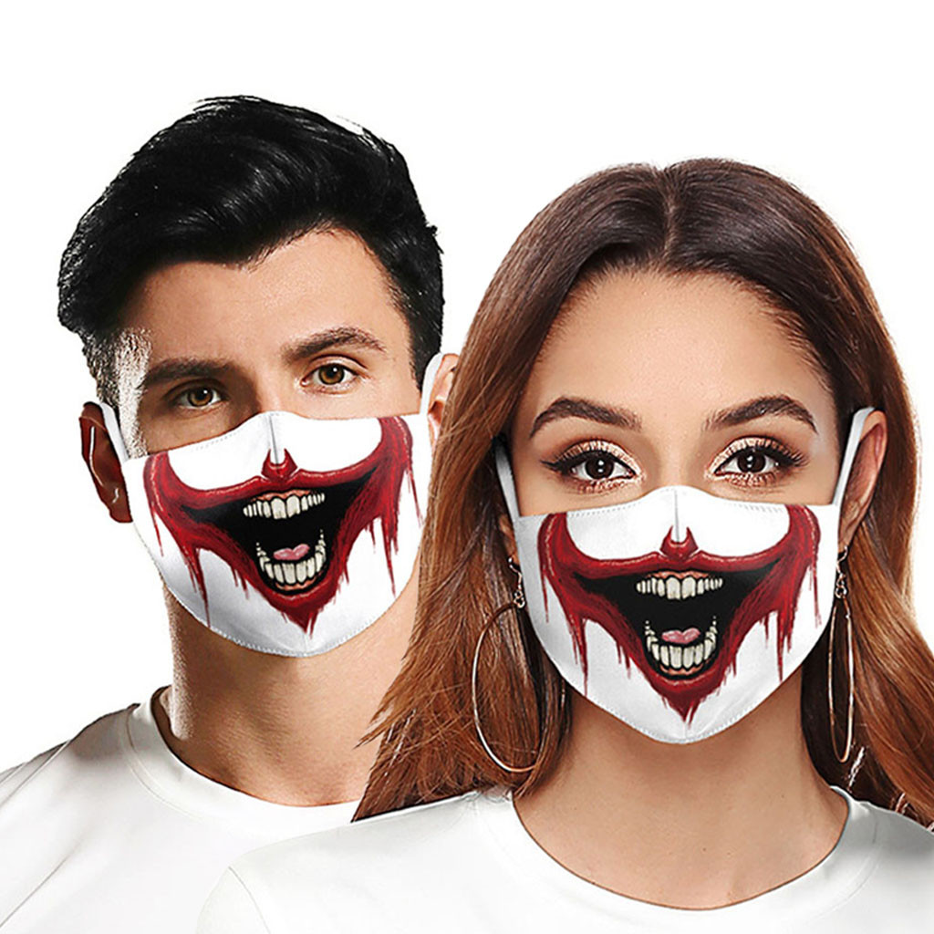 Unisex Seamless Reusable Anti-dust Protective Face Masks Funny Big Mouth Joker Printed Masks Adults Unisex Multicolor Clown Mask