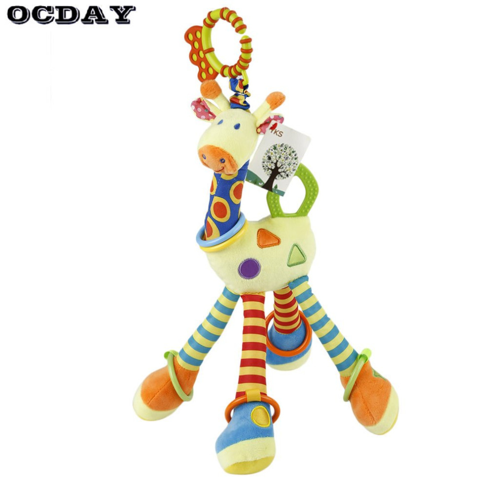 OCDAY Plush Infant Baby Development Soft Giraffe Animal Handbells Rattles Handle Toys Hot Selling WIth Teether Baby Toy