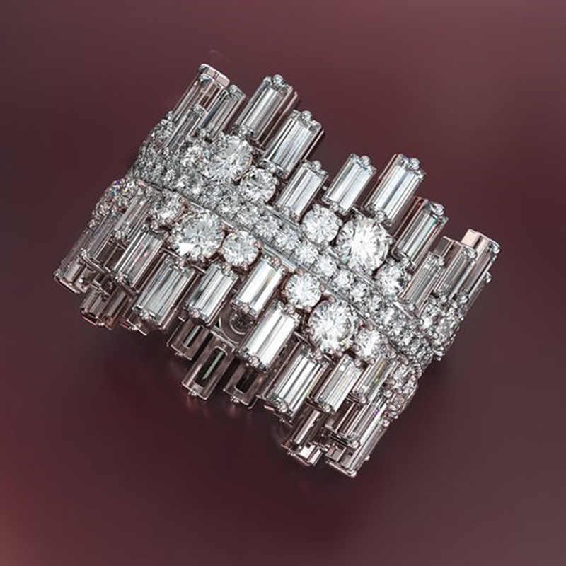 خاتم حبي فاخر على شكل غير منتظم من Huitan للنساء خاتم مرصع بحجر الزركونيوم دائري الشكل مرصوف صغير مجوهرات عصرية