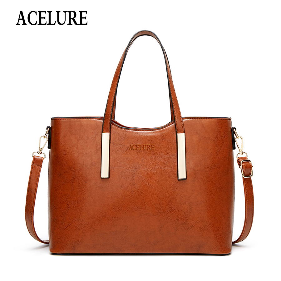 ACELURE Oil Wax PU Shoulder Bag Women Fashion Handbag Casual  Messenger Top-handle Bag Ladies Crossbody Bags Female Elegant Tote