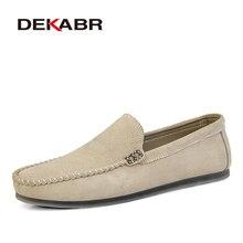 DEKABRยี่ห้อใหม่ผู้ชายหนังนุ่มรองเท้าLoafersผู้ชายรองเท้าหนังนิ่มรองเท้าSlip On Menน้ำหนักเบาขับรถรองเท้า