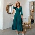 V-ausschnitt Grundlegende Lange Midi Kleid Frauen Langarm Bogen Gürtel Frühling Party Kleid A-Line Elegante Büro Kleid Dame Vintage Koreanische b337