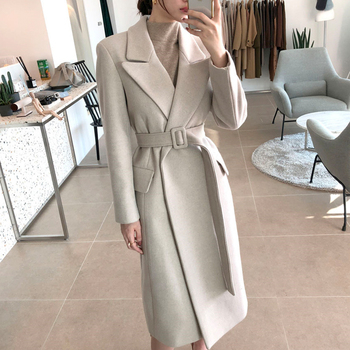 Woman Coats Winter Wool Long Coat With belt Office Lady Fashion lace Up Coats Outerwear 4