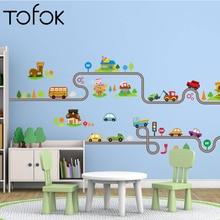 Tofok Cartoon Mini Car Winding Road Wall Sticker Baby Children Room Bedroom Wallpaper Home Nursery Decoration Cute Mural Decals