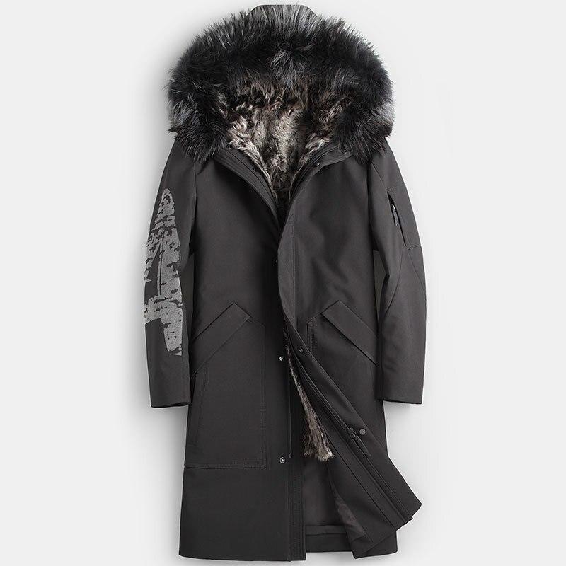 Real Fur Coat Natural Lamb Fur Coat Winter Jacket Men Real Raccoon Fur Collar Warm Parkas Plus Size Jackets Casaco YY867