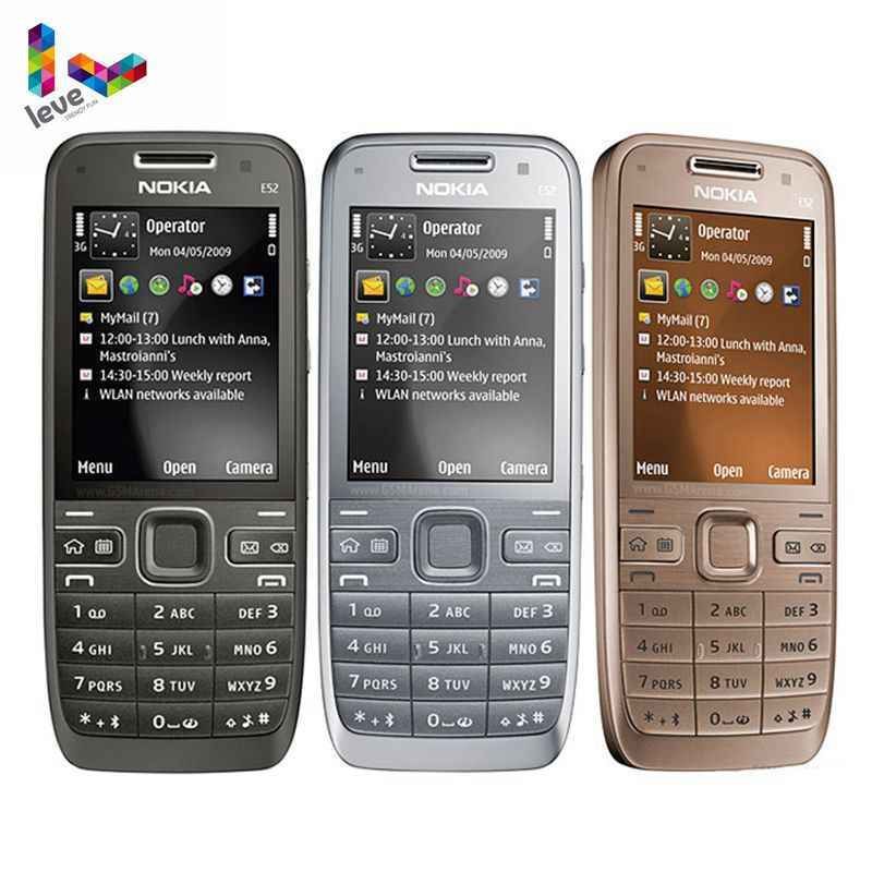 Asli Unlocked Nokia E52 GSM Smartphone WIFI Bluetooth GPS 3.2MP Dukungan Rusia & Arab Keyboard Ponsel