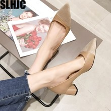 SLHJC Women Heels Shoes Spring Autumn Slip On Leather Patchw