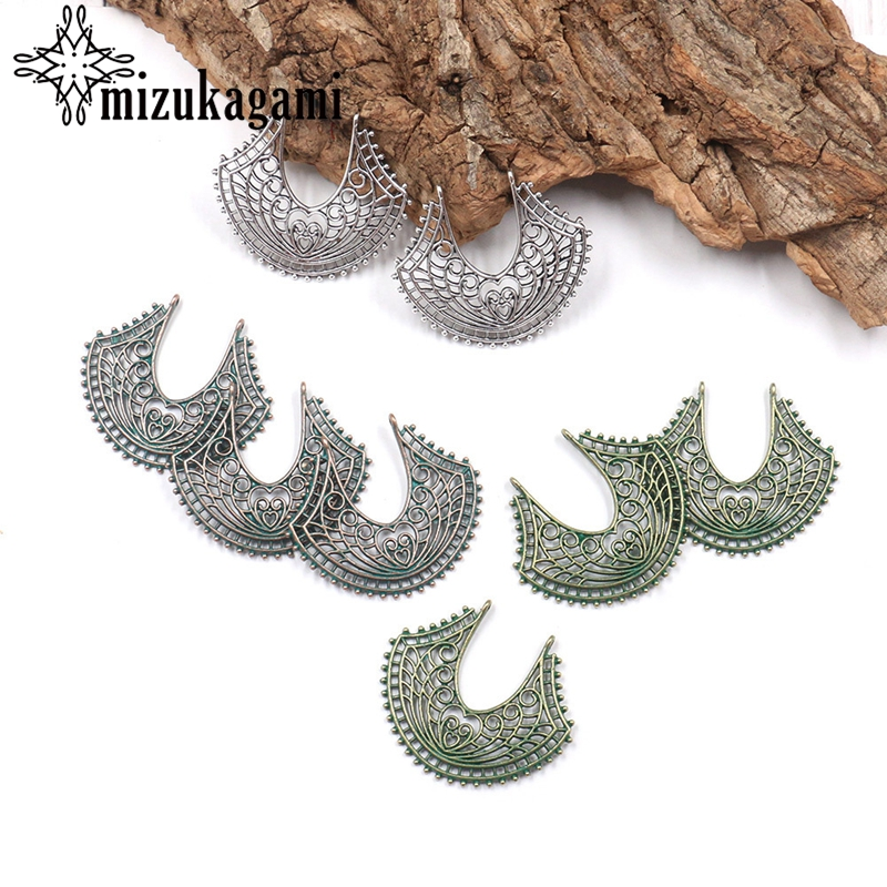 Retro Zinc Alloy Silver Green Fan Shaped Connector Linker Charms 10pcs/lot For DIY TDrop Earrings Accessories