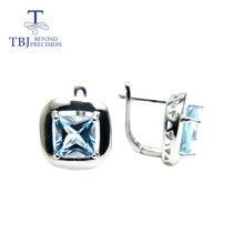 Женские серьги с голубым топазом tbj квадратные 7 мм 4ct бразильские