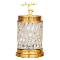 European Crystal Glass Storage Canned Sugar Cans Deer Head Storage Bottle Candy Box Cotton Swab Jar Household Storage Tank Home