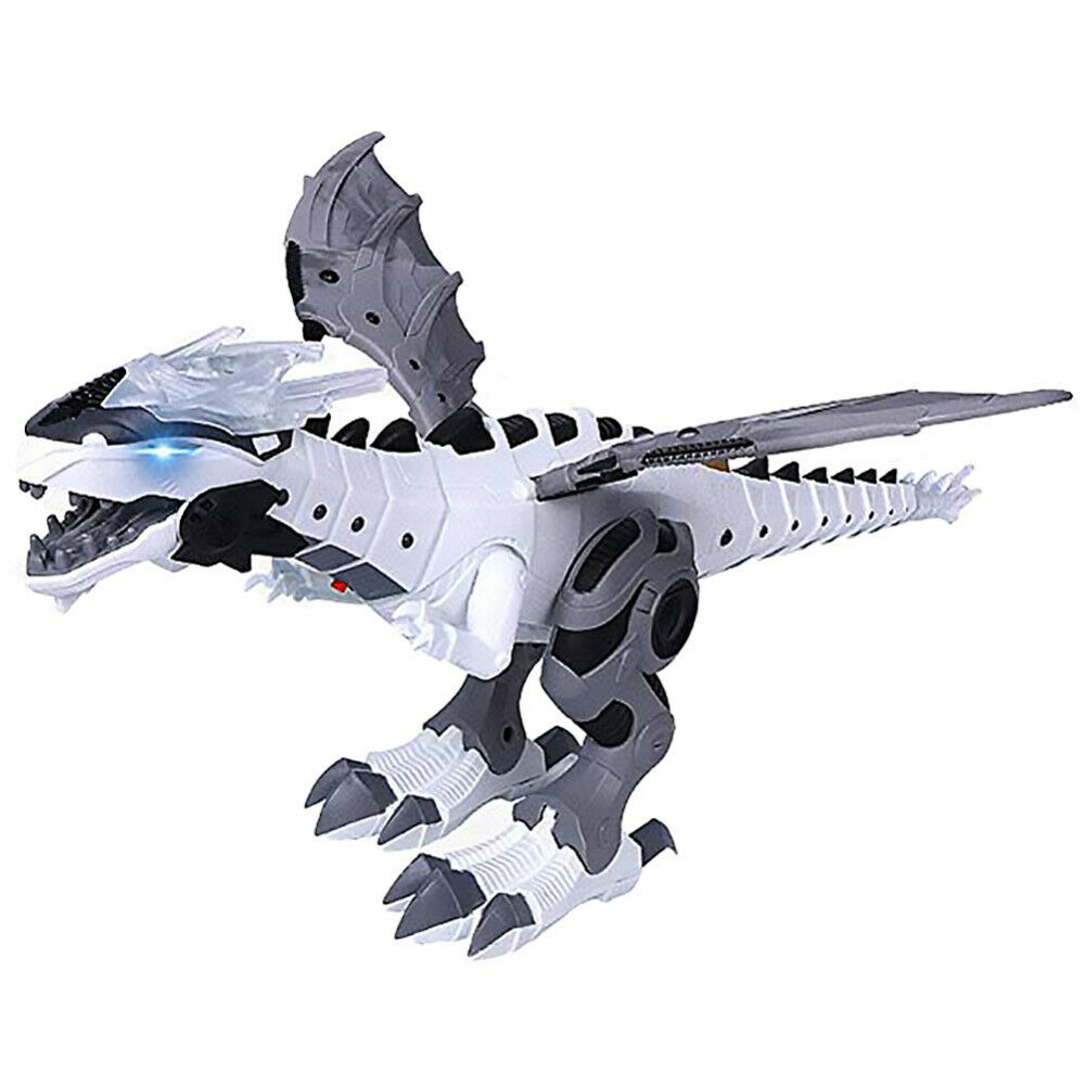 White Multifunctional R//C Robotic Dinosaur with Mist Spray and Soft Bullets Shooting Intelligent Walking T-rex Toy Gift for Kids Interactive Electronic Fire Breathing Dragon with Programming