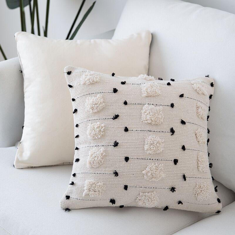 White Black Geometric Cushion Cover Moroccan Style Pillow Cover Woven For Home Decoration Sofa Bed 45x45cm/30x50cm