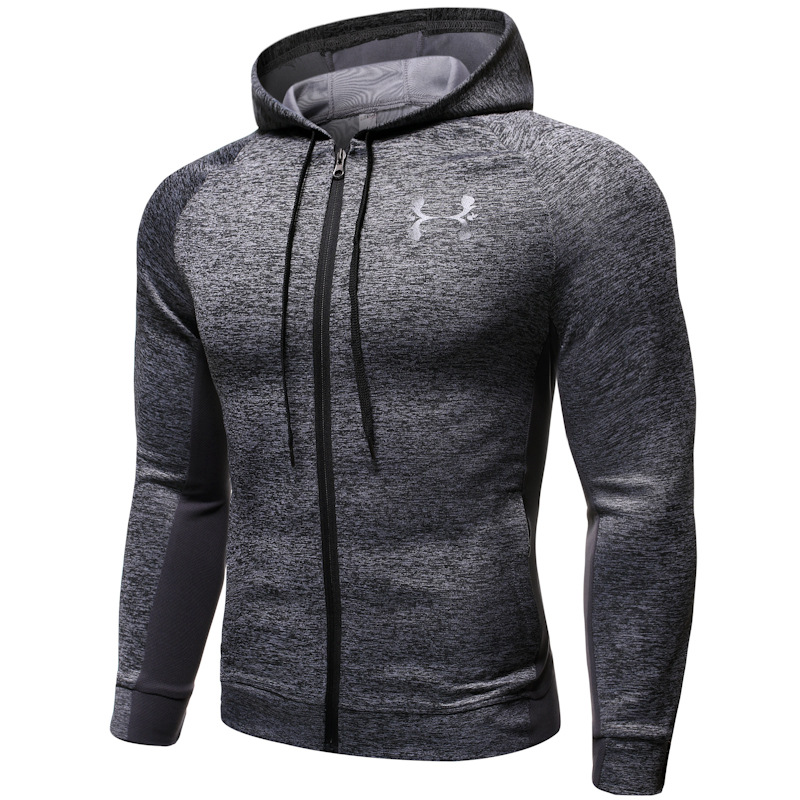 Men Fashion Zip Up Long Sleeve Fitness Hoodie Casual Sports Running Hoodies