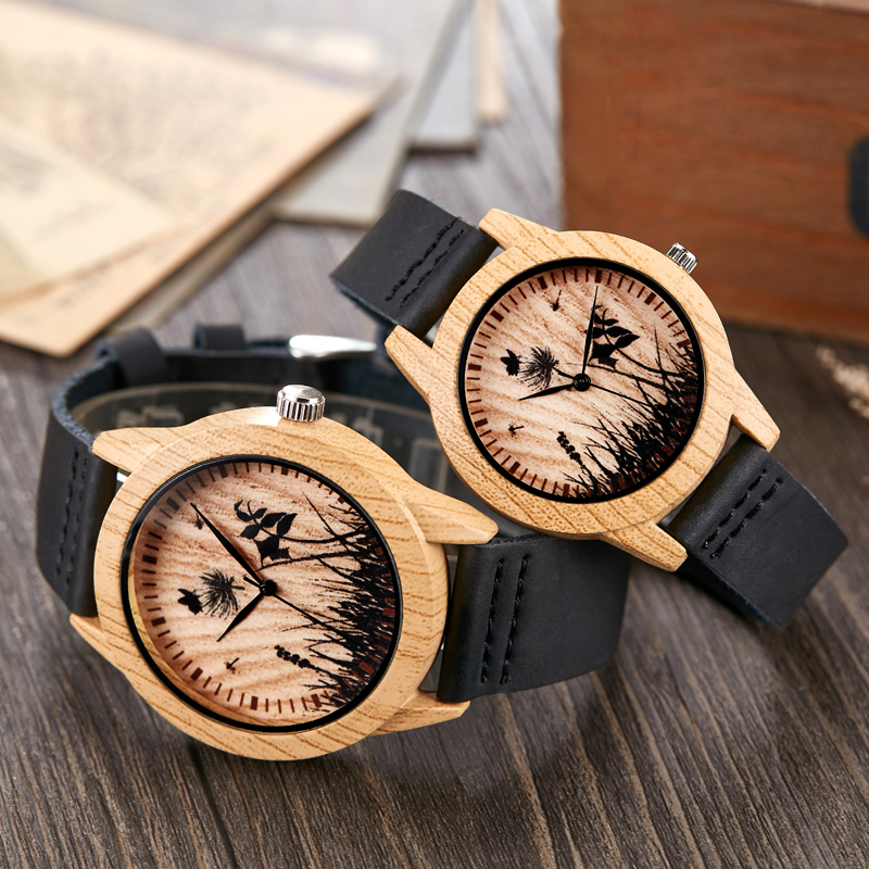 Couple Wooden Watch Men Women Ostrich Deer Skull Wristwatch Imitation Imitate Wood Case Quartz Soft Leather Strap Lover Wrist