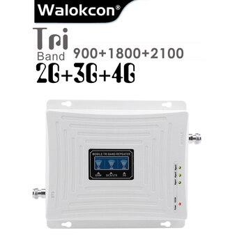 GSM 900 DCS 1800 WCDMA 2100 MHz Cellular Signal Booster 70dB Gain 2G 3G 4G Tri