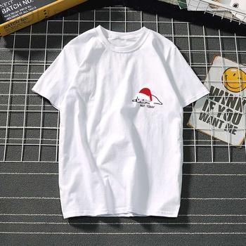 Harajuku świąteczna kotka graficzna koszulka damska w stylu Casual letnia odzież damska koszulka damska koszulka damska kawaii ulzzang tanie i dobre opinie Gourd doll CN (pochodzenie) Poliester Topy Tees Krótki REGULAR Suknem Stałe 122151 WOMEN NONE Na co dzień Osób w wieku 18-35 lat