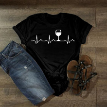 2019 new Wine Heartbeat Women tshirt Cotton Casual Funny t shirt Lady