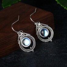 Vintage Women Dangle Earrings  Moonstone Silver Geometric Water drop Earring Boho Indian Jewelry