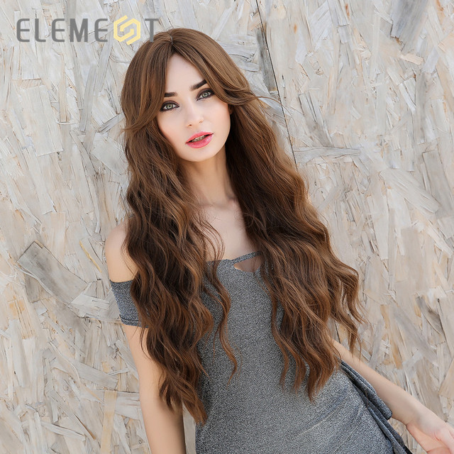 Element Synthetic Long Wavy Middle Part Wigs with Bangs Brown Hair Cosplay Party Wigs for White/Black Women Costume