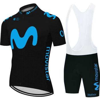 Pro Team-maillot de ciclismo Movistar para hombre, negro, para verano, 2020
