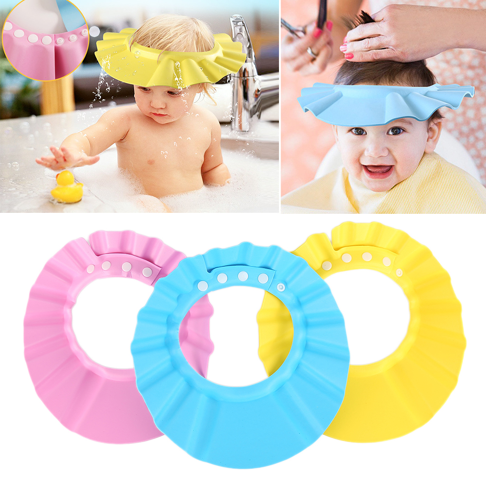 3 Color Soft Adjustable Baby Shower Cap Protect Children Adjustable Baby Kids Bath Bathing Shower Cap Hat Prevent Water Into Ear