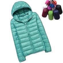 Зимний женский ультра легкий пуховик, белый утиный пух, куртки с капюшоном, теплое пальто с длинным рукавом, парка, Женская однотонная переносная верхняя одежда