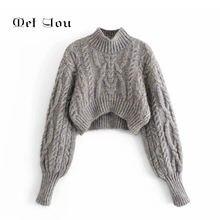 2020 серый женский укороченный свитер с длинным рукавом на осень/зиму