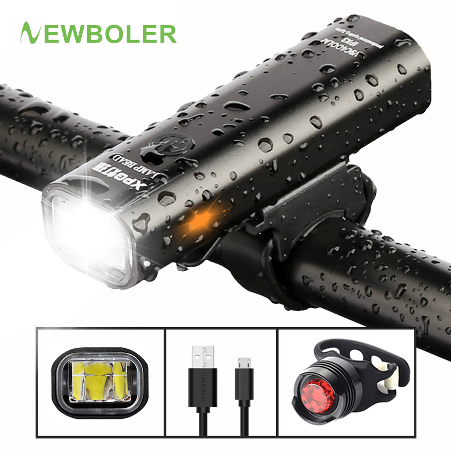 NEWBOLER 400LM Bike Front Light Set Anti-glare USB Rechargeable MTB Bicycle Light Wiht Taillight 3 Mode Led Cycling Headlight