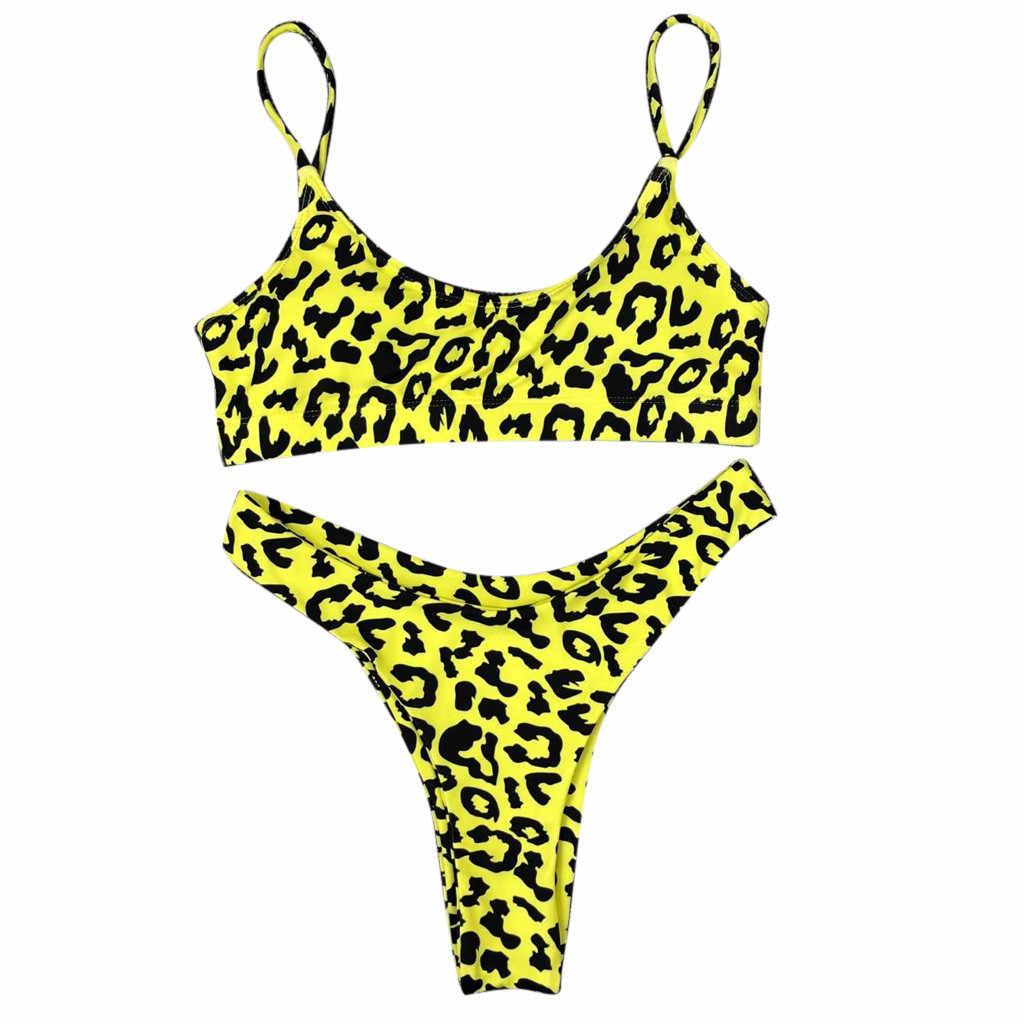 Bikini 2020 Sexy Frauen Sexy Leopard Print Padded Push-Up-Bh Strand Bikini Set Badeanzug Strand Bade Weibliche Leopard Anzug # f5