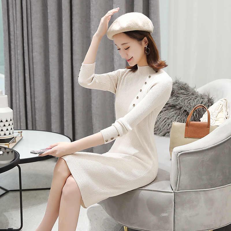 Однобортное элегантное тонкое корейское однотонное платье с круглым вырезом и длинным рукавом Vestido, зимнее трикотажное платье, Осеннее женское Новое модное 2019