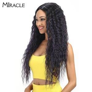 """Image 4 - Miracle Hair Ombre Pruik Kinky Krullend Diepe Middelste Deel Lace Pruiken 150 Dichtheid Lange 28 """"Hittebestendige Synthetische Pruiken voor Zwarte Vrouwen"""