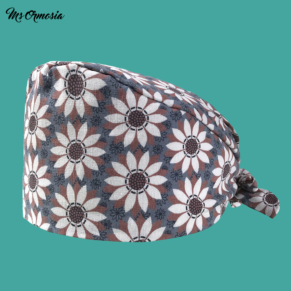 New Printed 100% Cotton Men And Women Hospital Pharmacy Nurse Cap Medical Laboratory Surgical Cap Pet Hospital Doctor Hat New