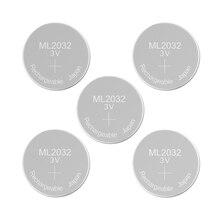 Batería recargable ML2032, 3V, botón de litio, pila de moneda integrada, ML 2032, sustituye CR2032, soporte de respaldo de emergencia